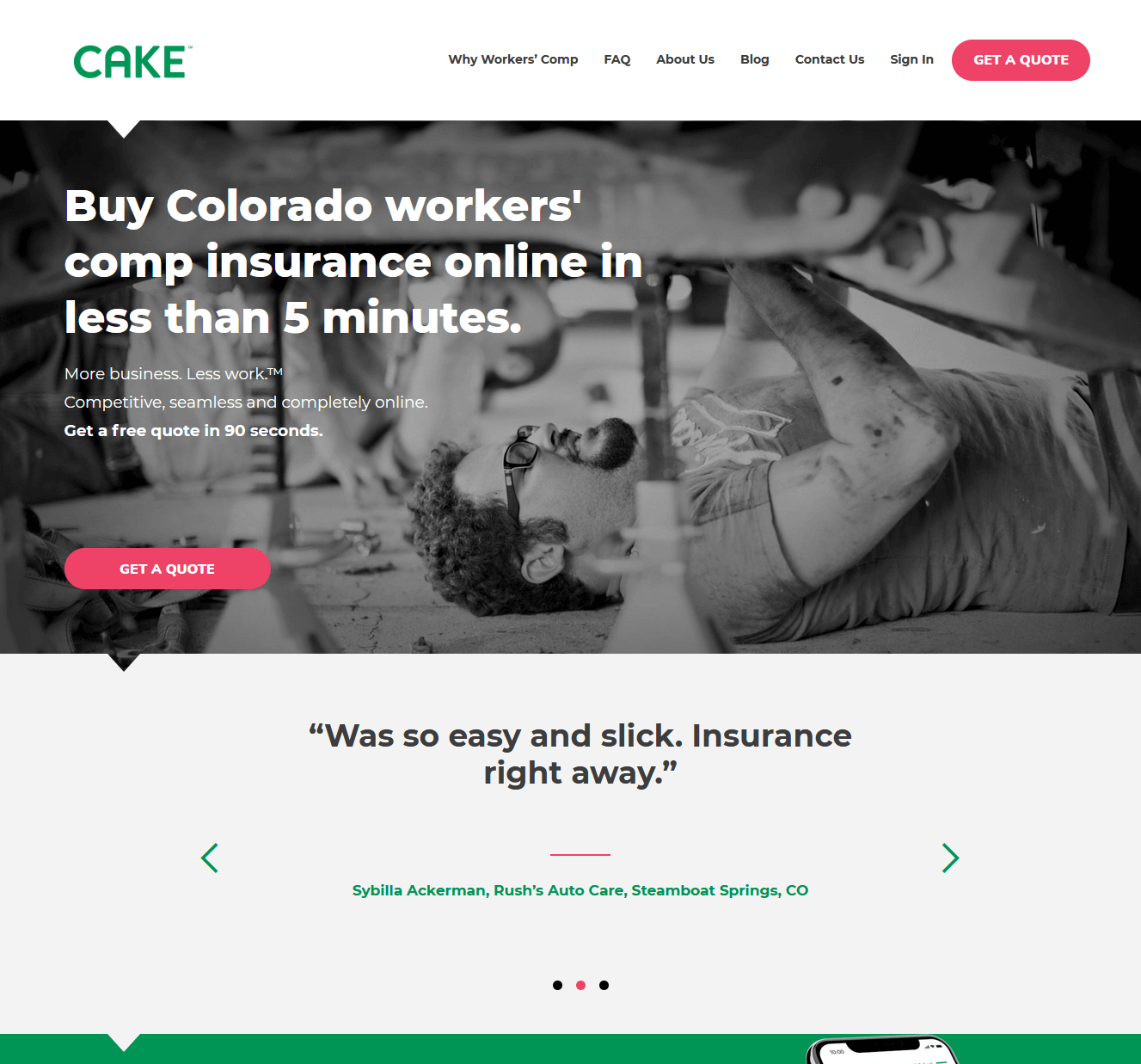 Cake Insurance - customer reviews in a carousel