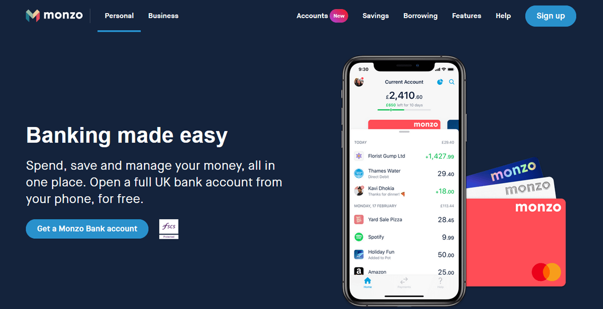 Fintech landing page example - Monzo