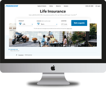 Real example - a small image on an real insurance landing page
