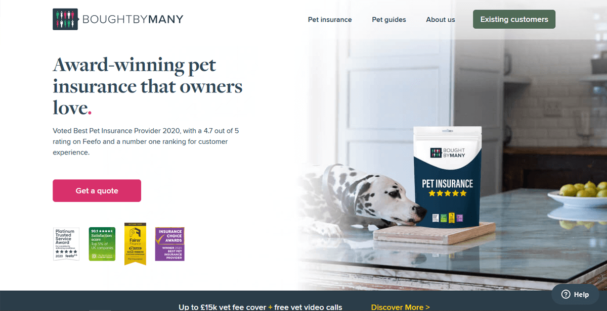 Insurtech landing page example - Bought By Many