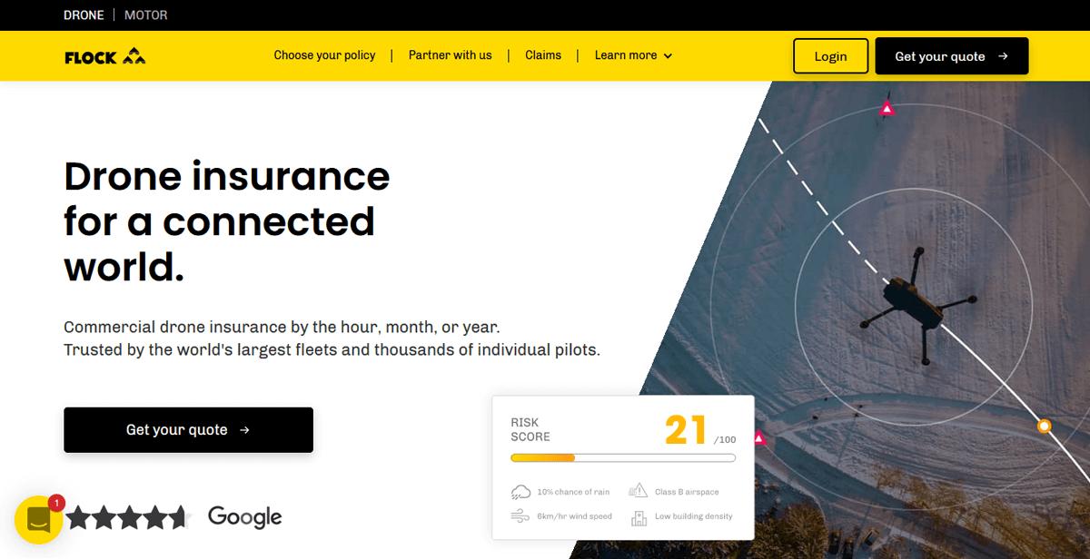 Insurtech landing page example - Flock