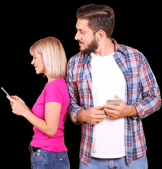 Couple on mobile insurance app